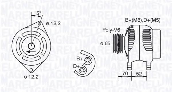 Alternator Magneti Marelli 063321402010 For Lancia Lybra 839ax Bx