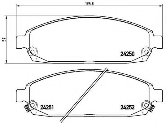 Set of 4 Brembo P37010 Front Disc Brake Pad