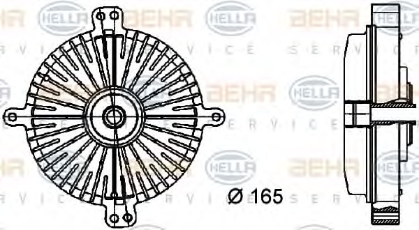 8MV 376 733-041 HELLA Clutch radiator fan