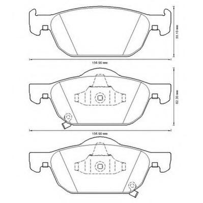 Set of 4 Brembo P28044 Front Disc Brake Pad
