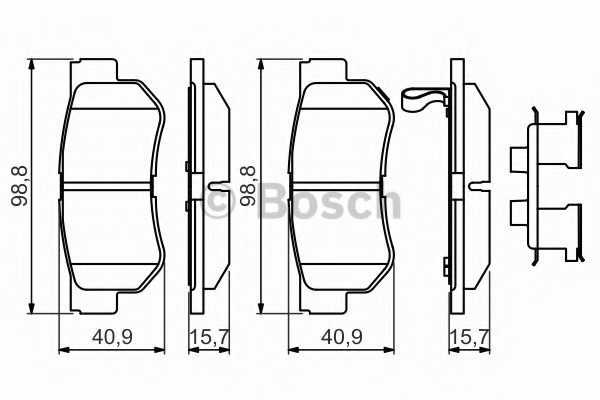 Set of 4 Brembo P30014 Rear Disc Brake Pad