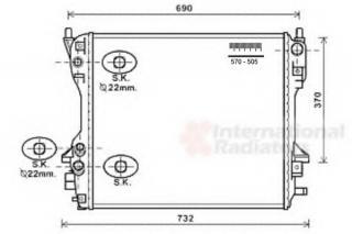 radiator, engine cooling van wezel 77002049